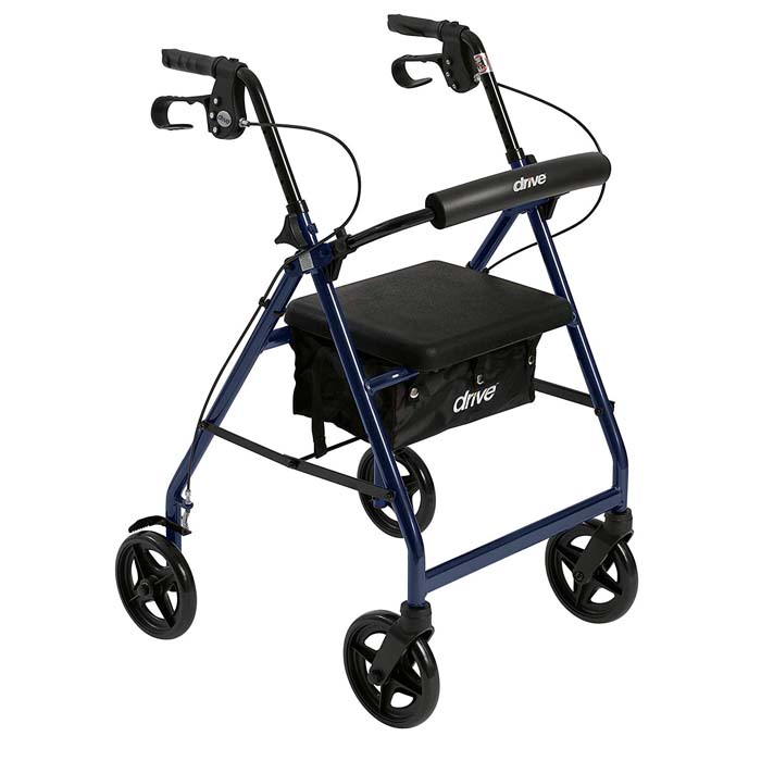 Drive Medical Rollator Walker with Fold Up and Removable Back Support and Padded Seat