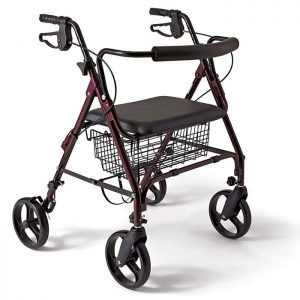 Medline Heavy Duty Bariatric Aluminum Mobility Rollator Walker with 8 Inch Wheels, 400 lbs Capacity