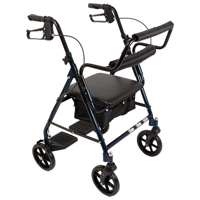 ProBasics Transport Rollator Walker with Seat and Wheels - Folding Walker and Transport Chair, Blue